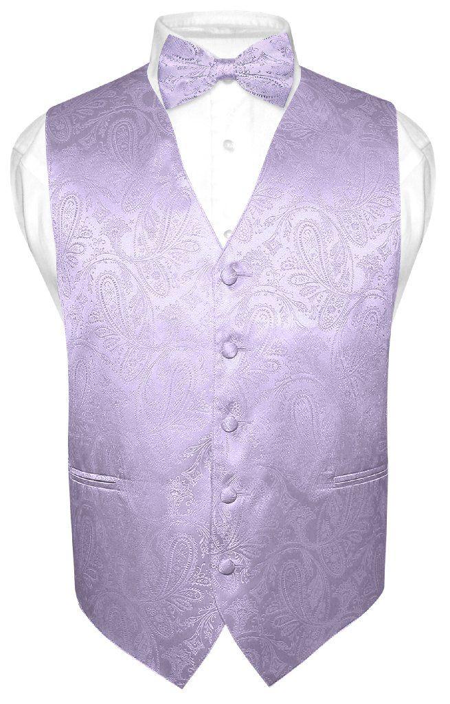 994acad8a298 Men's Paisley Design Dress Vest & Bow Tie LAVENDER Color BOWTie Set for Suit  Tux