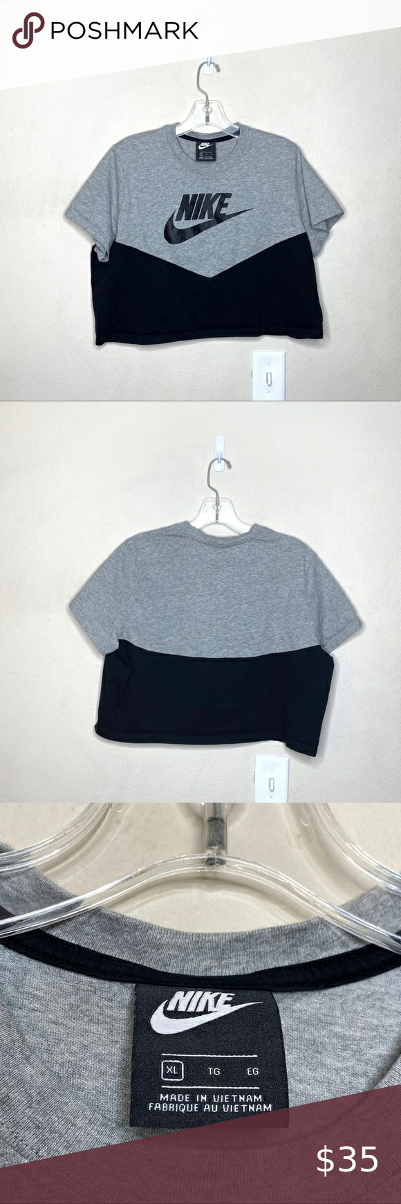 Nike Heritage Short Sleeve Crop Top Color Block Excellent Pre Owned Condition No Flaws Armpit To Armpit In 2020 Short Sleeve Cropped Top Fitted Cropped Tee Crop Tops [ 1740 x 580 Pixel ]
