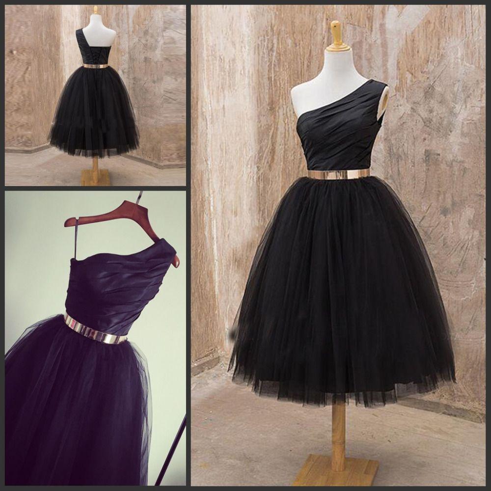Black tulle oneshoulder midcalf short dress aline sash ruche