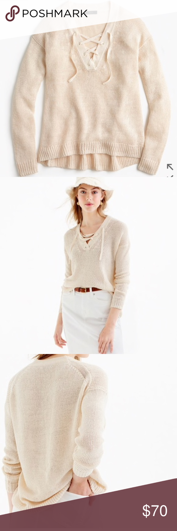 J. crew linen and lace- up beach sweater NWT | Beach sweater ...