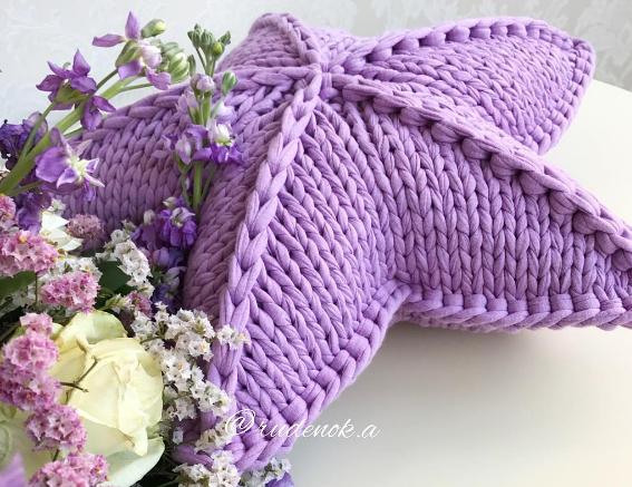 Estrella tejida en tricot paso a paso | Mantas y almohadones ...