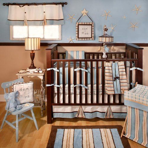For My Future Surfer Boy Baby Sam Barefoot Dreamin 4 Piece Crib Bedding Set Blue Brown
