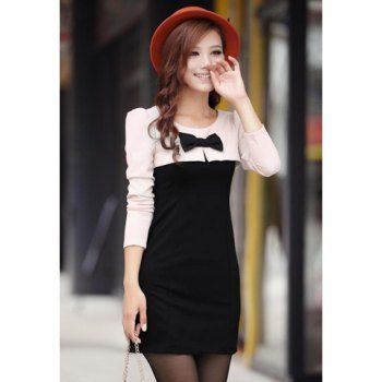 Stylish Round Neck Bowknot Embellished Color Block Long Sleeve Slimming Women's Dress, BLACK, ONE SIZE in Casual Dresses | DressLily.com