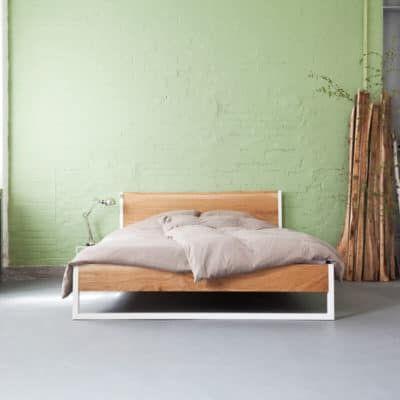 N51E12, Massivholzbett aus Stahl, Bettgestell, Schlafzimmer, Loft - schlafzimmer holz massiv