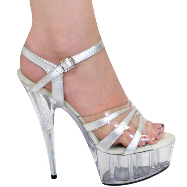 "5"", 6"", 7"" or 8"" Karo's Clear n' Silver Patent Striped Sandal Designer Shoes w/Clear High Heel Platform - Sizes 5-14. #0317 