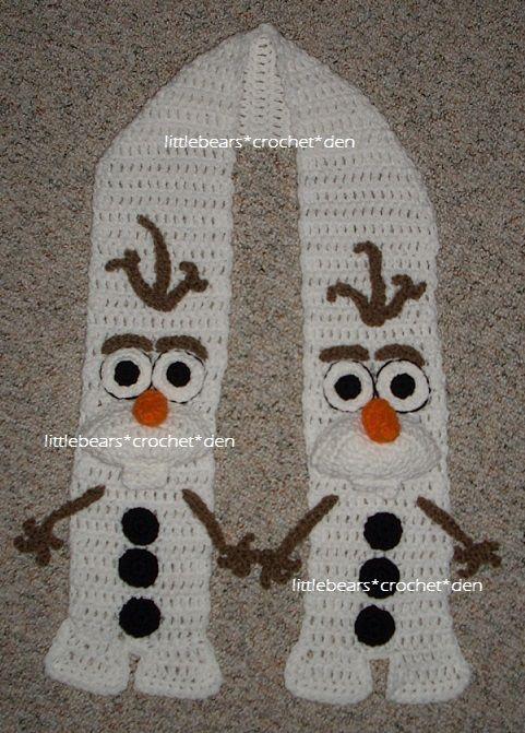 Crocheted Frozen Olaf Scarf Haken Käsit