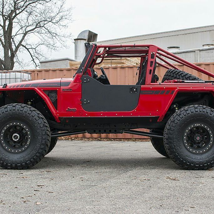 Now Available Aluminum Half Doors With Upper Soft Window Compatibility For Your Tj Or Lj Wrangler They Include Latches Jeep Half Doors Offroad Jeep Red Jeep