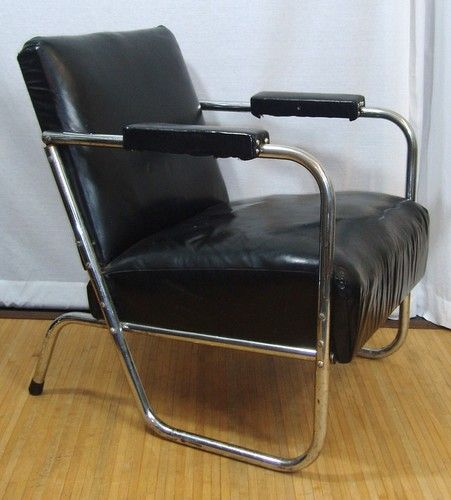 Vintage 1940s Deco Tubular Chrome Black Vinyl Lounge Arm