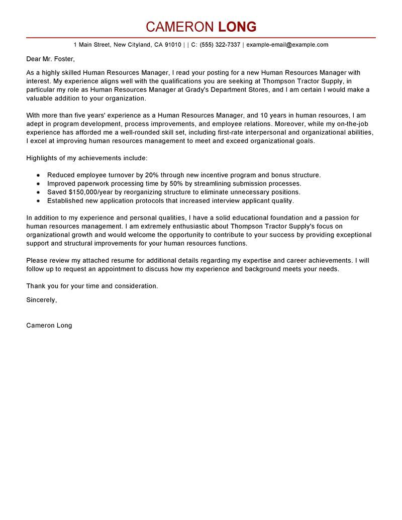 Human Resources Manager Cover Letter Examples Letterswriting Your