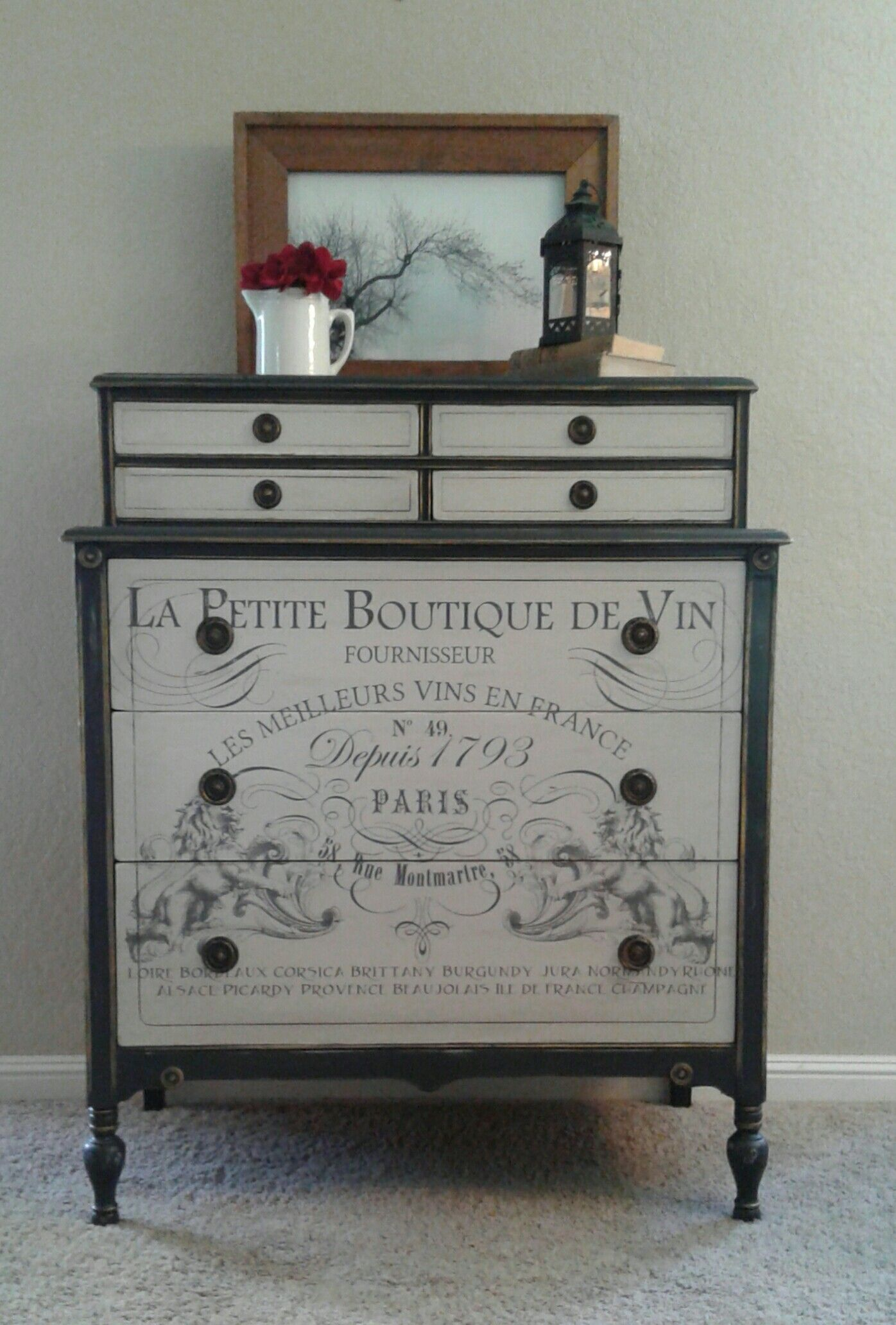 Stunning Chalk Painted Dresser With Iron Orchid Design Transfer Shabby Furniture Redo Furniture Painted Furniture