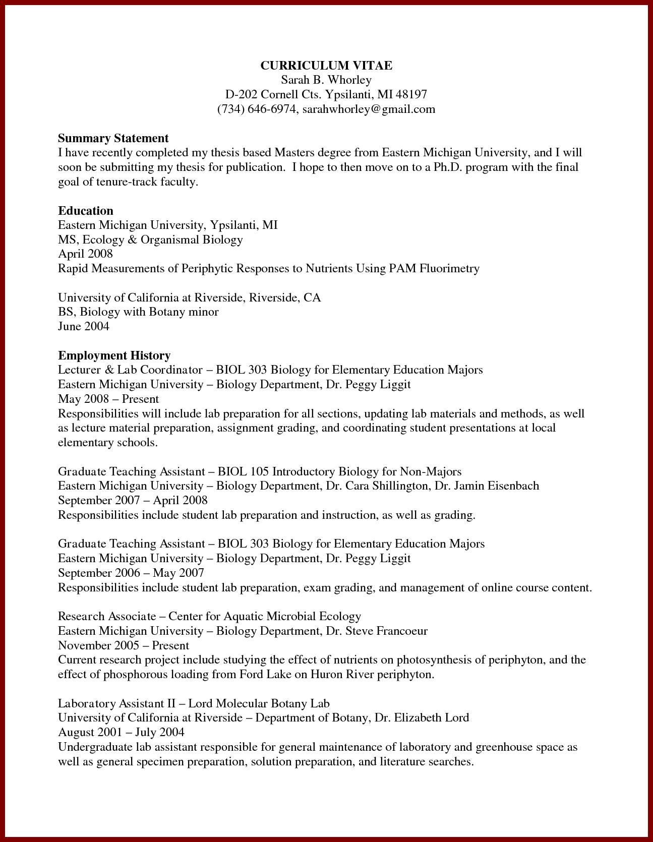Current Phd Student Resume Graduate Example Academic Curriculum