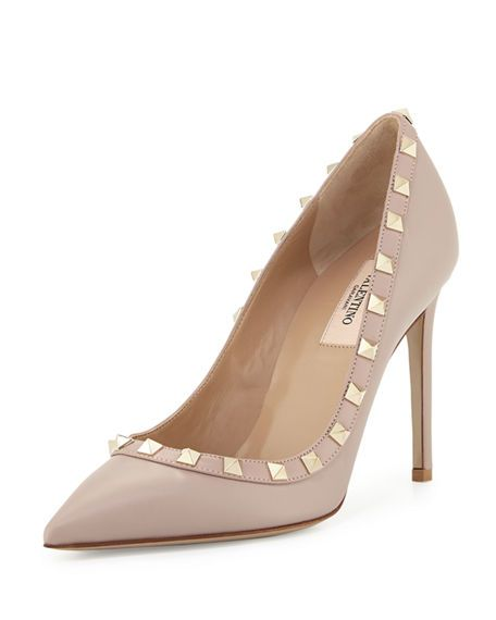 ded1f00ea8 VALENTINO ROCKSTUD LEATHER 100MM PUMP, POWDER (POUDRE). #valentino #shoes # pumps