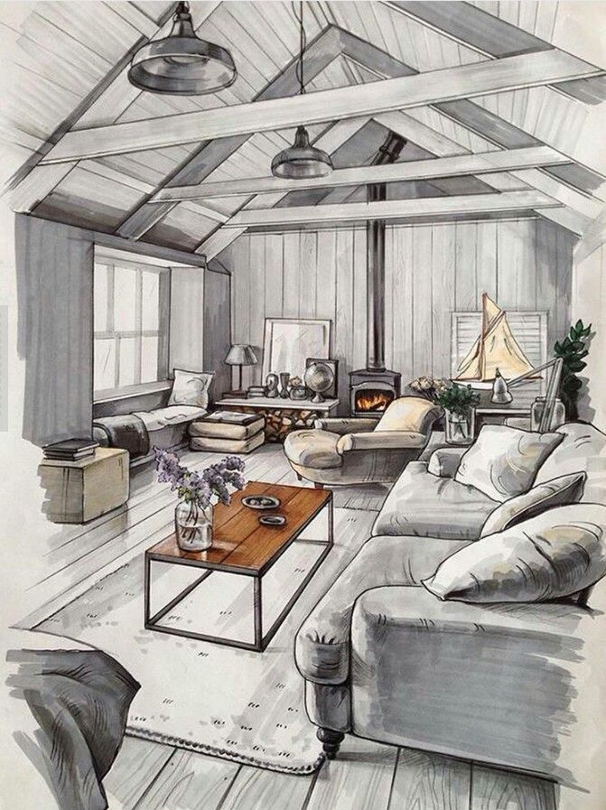 decoration dessin croquis salon moderne masion gris bois poutre canap mly interior. Black Bedroom Furniture Sets. Home Design Ideas