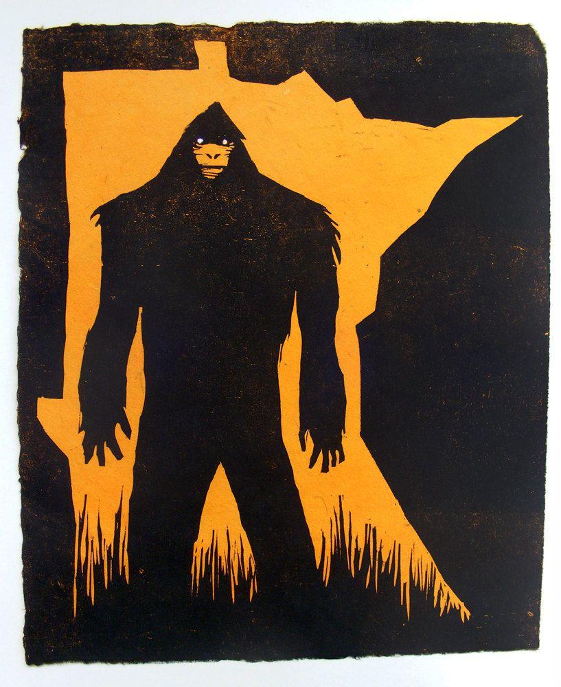 MN Bigfoot Woodcut Art Print. Orange. $35.00, via Etsy.