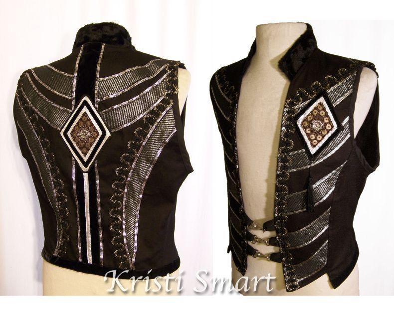 Mens medium vest. Lots of fancy appliques and trims. Velvet ribbon, beaded medallions. A catcher of ambient light.