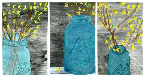 FORSYTHIA PHASES Acrylic Painting Print by Amy