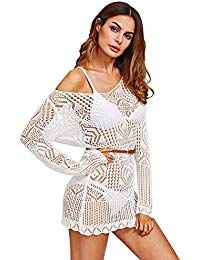 324874e5a73 Women s Knit Crochet Lace Tassel Bikini Swimwear Beach Cover up Dress