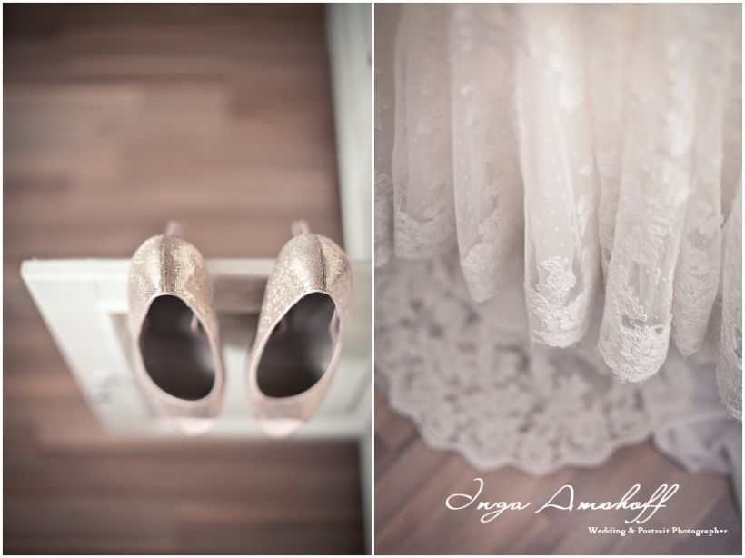Lovely lace wedding dress & sparkling peachy wedding shoes  by Inga Amshoff Photography