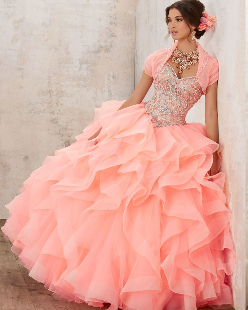 5d156bc959b Salmon Pink. Salmon Pink Turquoise Quinceanera Dresses ...