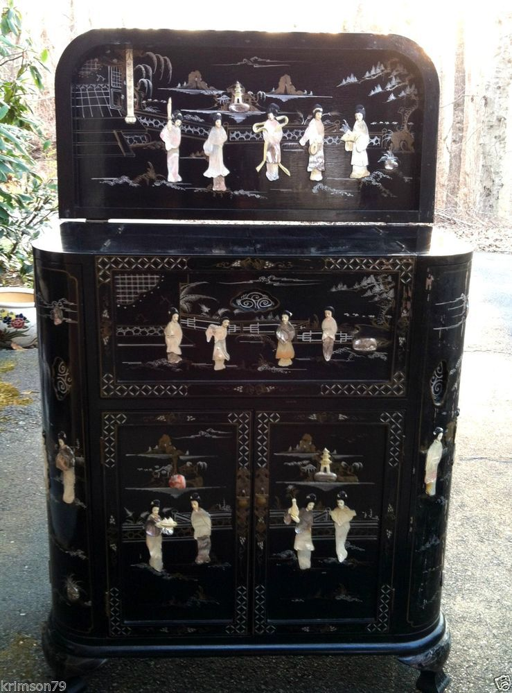 Mother of Pearl Chinese Stone Inlaid Bar Cabinet Oriental Antique ...
