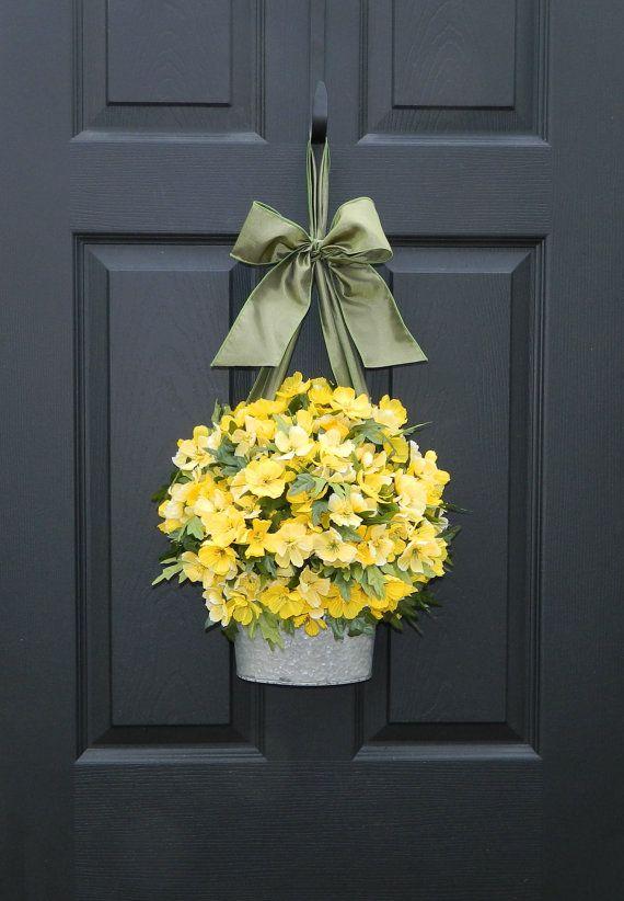 Door Wreath Spring Wreath Yellow Wreath Flower Pail