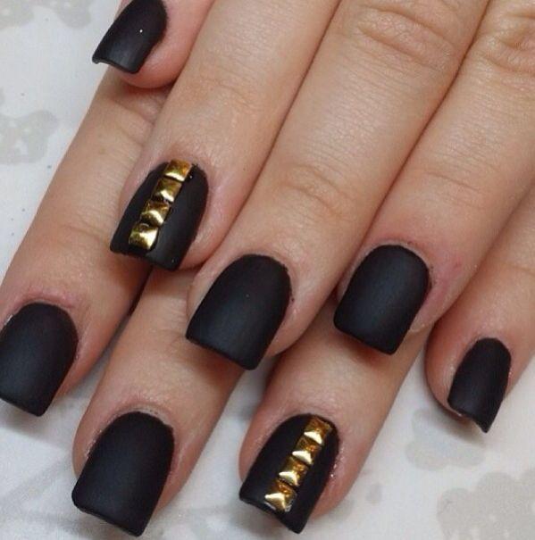 black matte nails with a pop gold | Nails | Pinterest | Matte nails ...