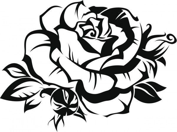 imagen de una rosa para colorear | Tattoos 4 Flash | Pinterest ...