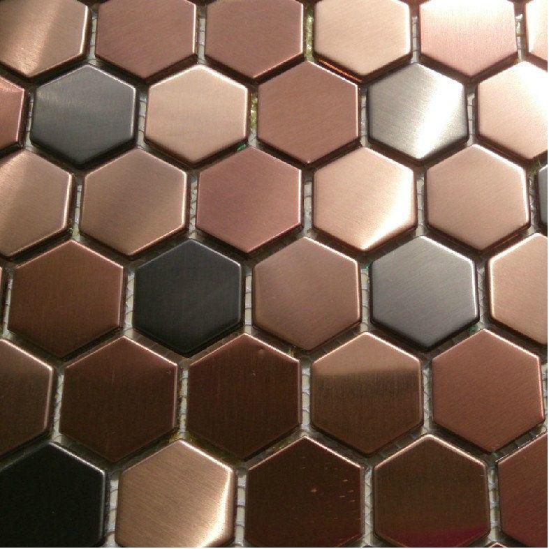 Hexagon Metal Mosaic Wall Tiles Backsplash Smmt055 Copper Bronze Black Stainless Steel Metallic Mosaic Tiles Backsplash Hexagonal Mosaic Hexagon Mosaic Tile Metal Mosaic Tiles