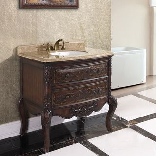 Image On Natural Stone Top inch Single Sink Vintage Style Bathroom Vanity Overstock Shopping