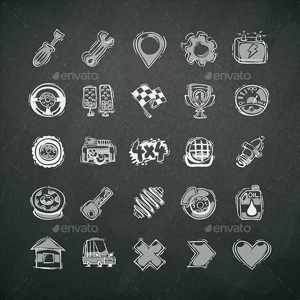 Icons Set Of Car Symbols On Blackboard Car Symbols Icon Set And Icons