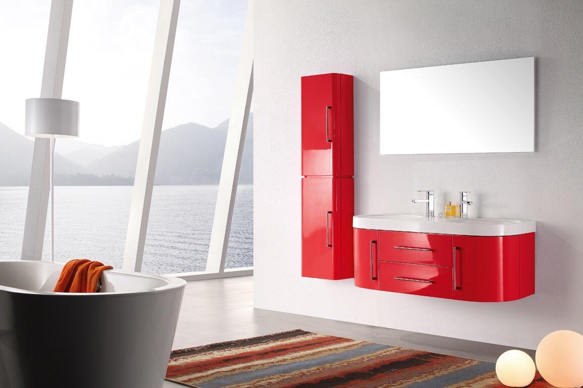 Meuble salle de bain double vasque rouge laqué brillant, 18 cm