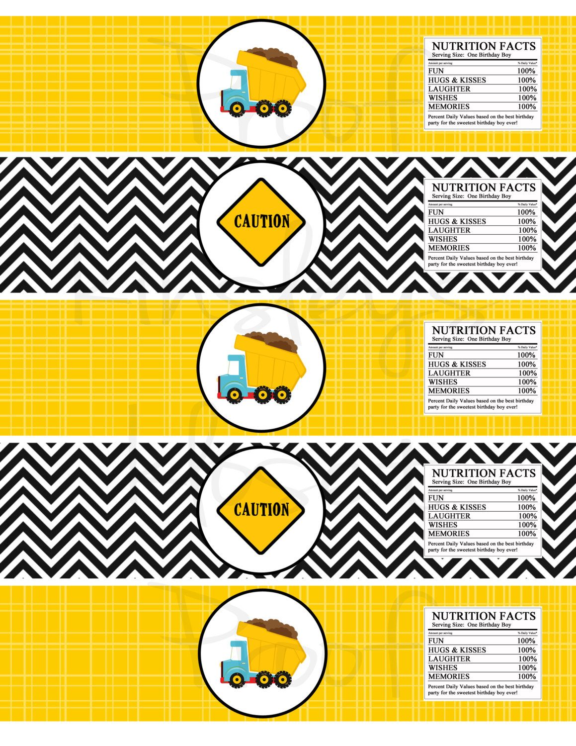 graphic about Free Printable Construction Birthday Invitations titled Dumptruck Printable Get together waterbottle labels - Structure
