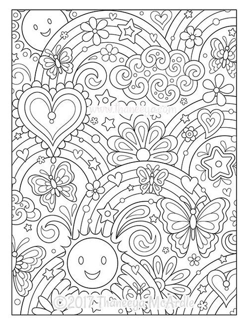 Hearts And Rainbows Coloring Page By Thaneeya Mcardle Abstract
