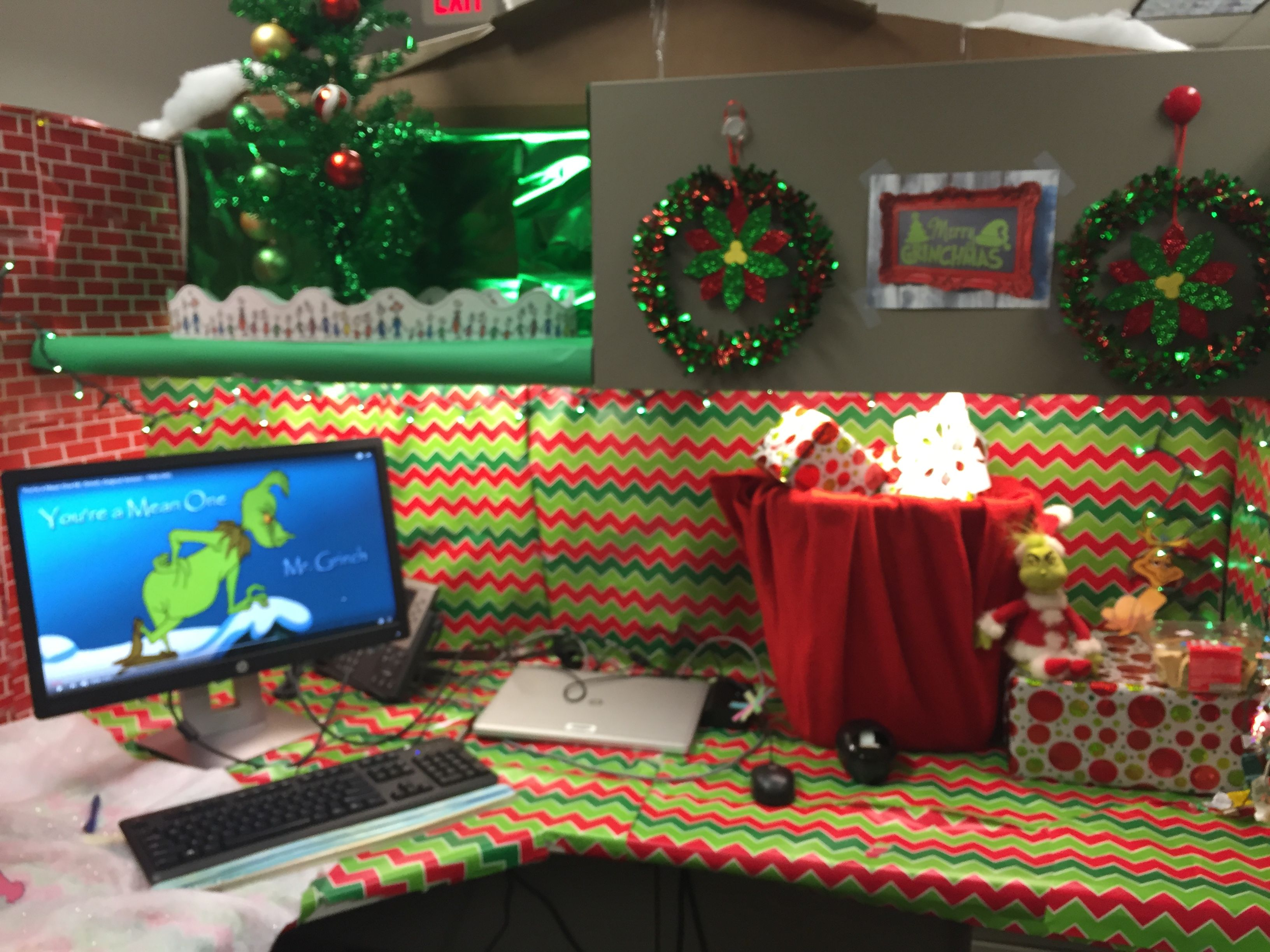 Grinch Cubicle Decoration Office Christmas Decorations Christmas Desk Decorations Holiday Office Decor