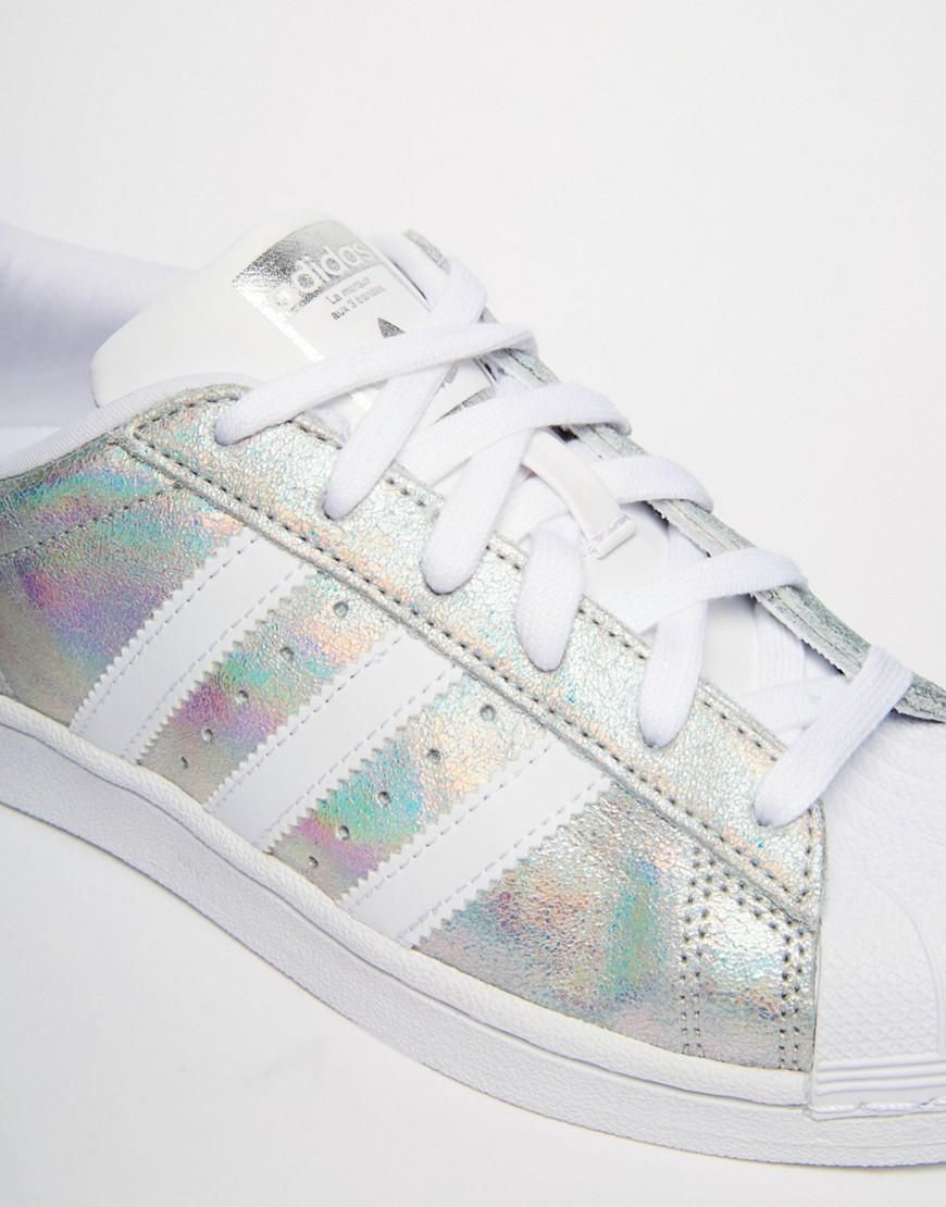 Adidas | adidas Originals Superstar Holographic White Sneakers at ASOS