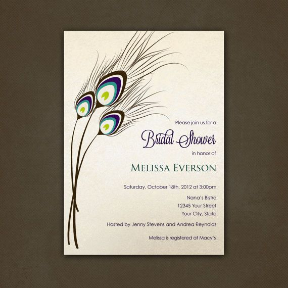 Peacock Feathers Bridal Shower Invitations Printable File By Pink Sky Printable City Wedding Invitations Bridal Invitations Bridal Shower Invitations Printable