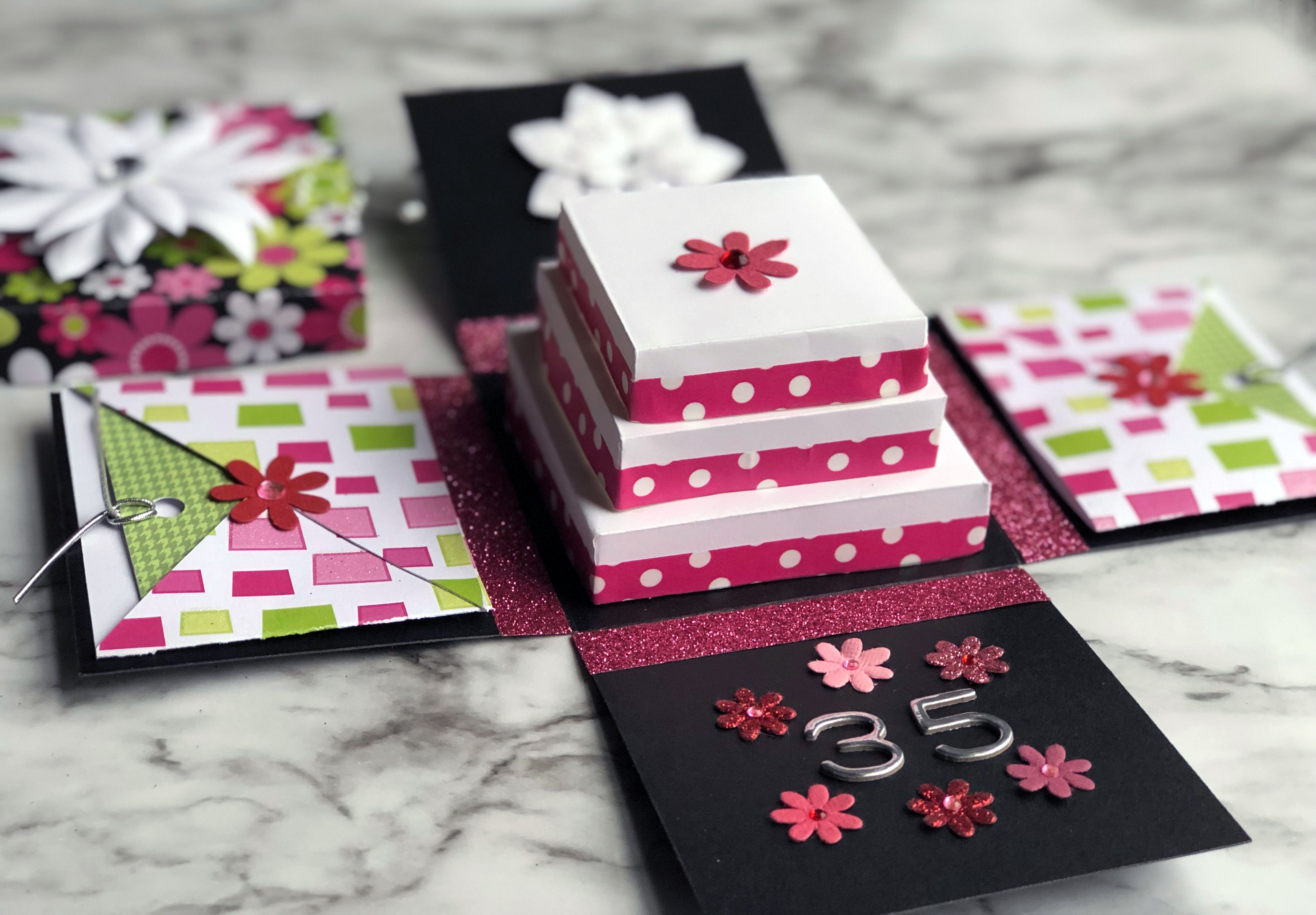 This Diy Exploding Box Greeting Card Tutorial Is A Fun Card Craft Project That Can Be Customized For Card Box Wedding Diy Exploding Box Card Box Cards Tutorial