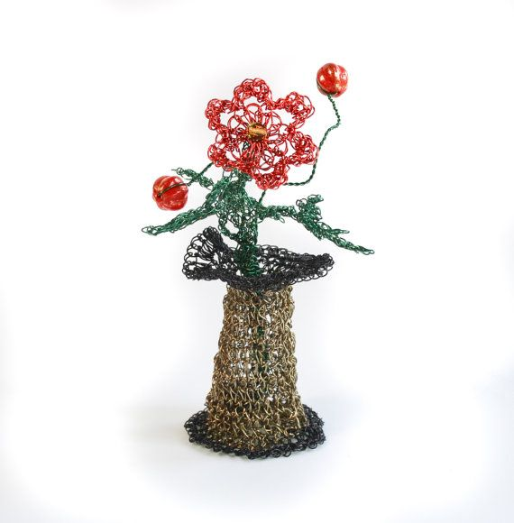 Hand Crochet Wire Miniature Flower Vase And Flower By Prayermonkey
