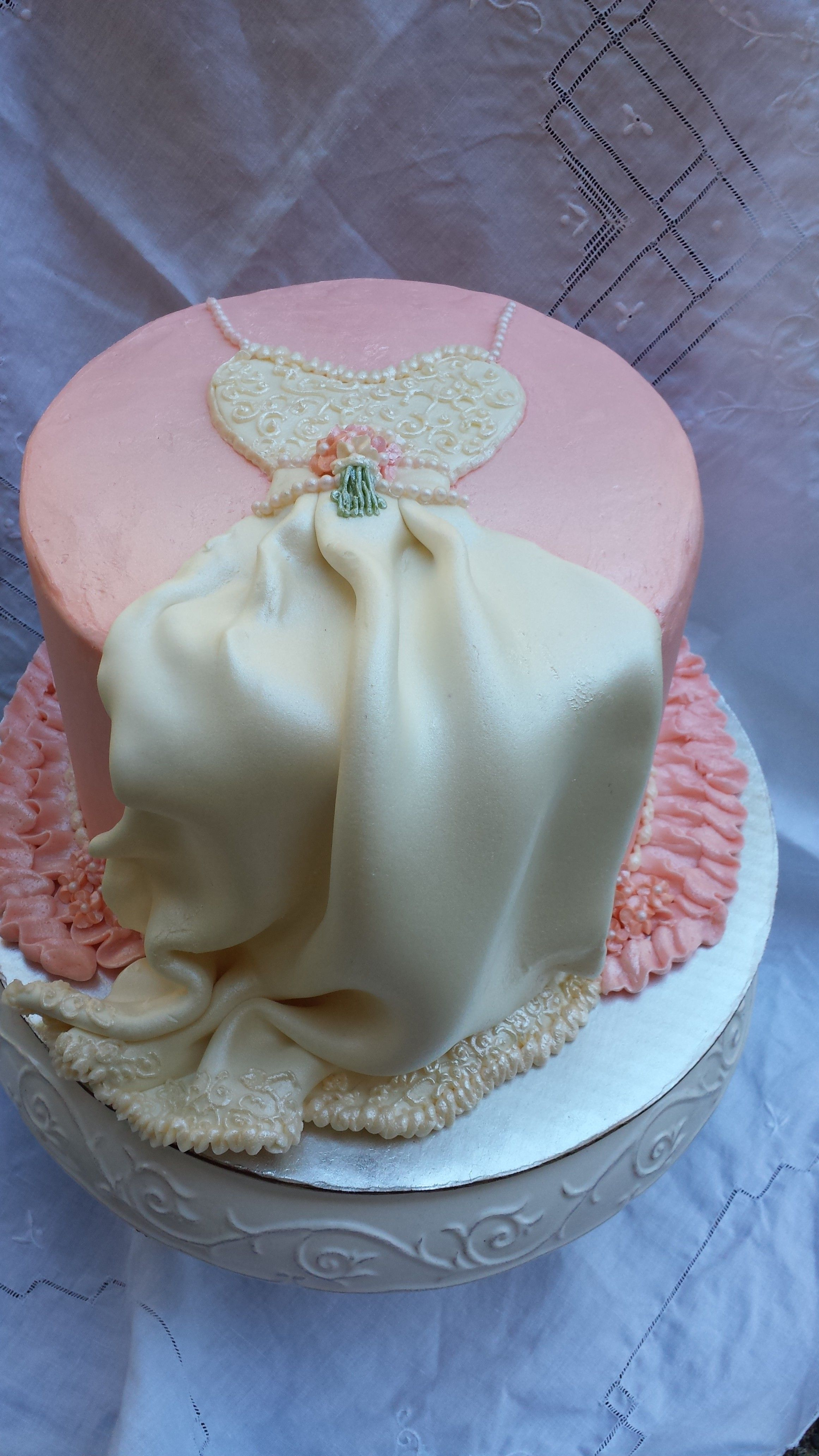 Classic wedding dress cake for shower - This is a white cake filled ...