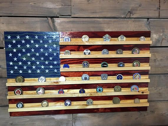 Challenge Coin Holder Rustic American Wooden Flag