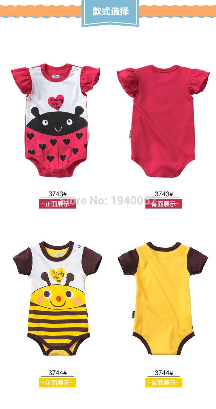 Abeja linda Mamelucos Del Bebé Recién Nacido Ropa Bebé Niñas de Dibujos  Animados Manga Corta Estampado b6b33445203