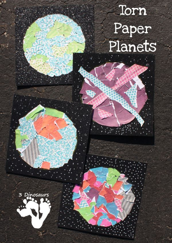 Space Craft Ideas For Kids Part - 34: Torn Paper Planets - Fun Fine Motor Space Craft For Kids To Make -  3Dinosaurs.