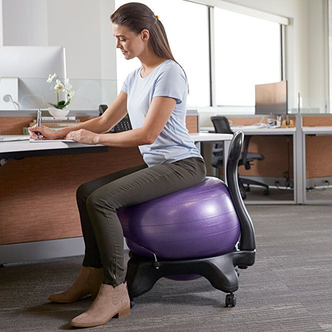 ergonomic chair exercise ball tub accent amazon com gaiam classic balance stability yoga premium for home and office desk with air pump guide