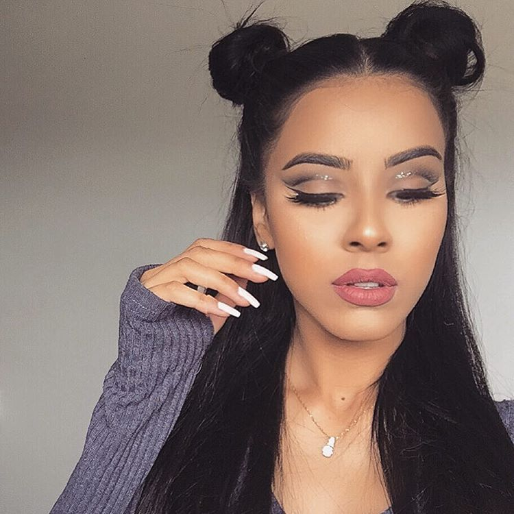 Repost Lovely Look Your Make Up And Two Buns Hairstyle Are Very Beautiful Love Your Interesting Hairstyle Two Buns Hairstyle Bun Hairstyles Hair Styles