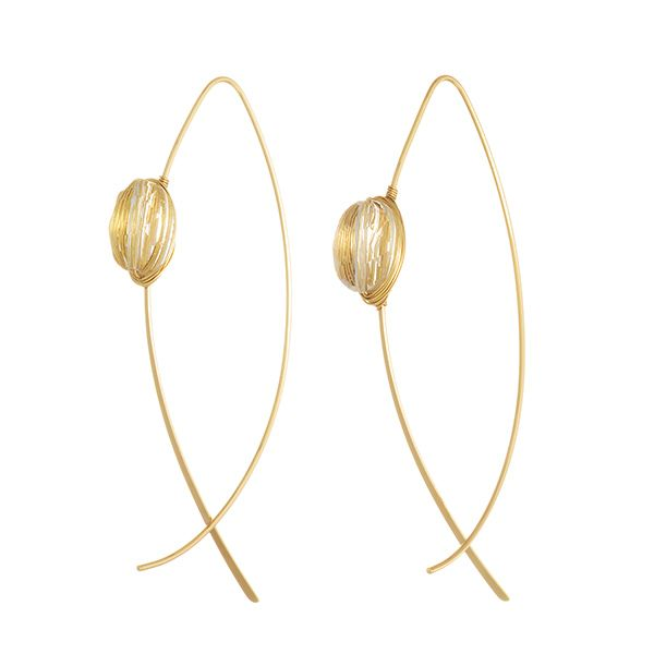 Wholesale gold fishhook earrings clear wire wrapped stone ...