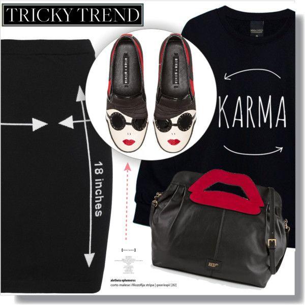 karma :) by myfashionwardrobestyle on Polyvore featuring moda, Moschino, Alice + Olivia and RED Valentino