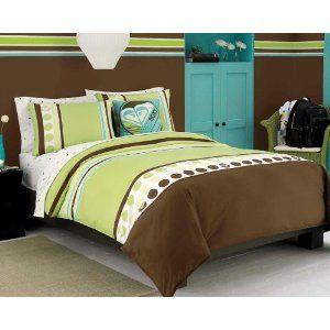 Roxy Pink Brown Aqua Dots Teen Girls Comforter Set College Dorm