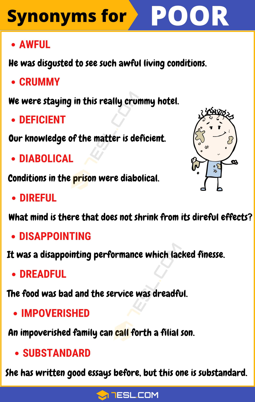 Another Word For Poor 100 Synonym With Useful Example 7esl Good Vocabulary Writing English Words Essay About People