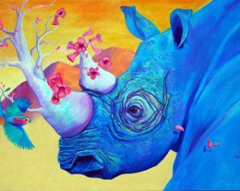 "Blue Rhino - ""Morning Song"" - Original Rhinocerous PRINT 11 x 14 - By Corina St. Martin"