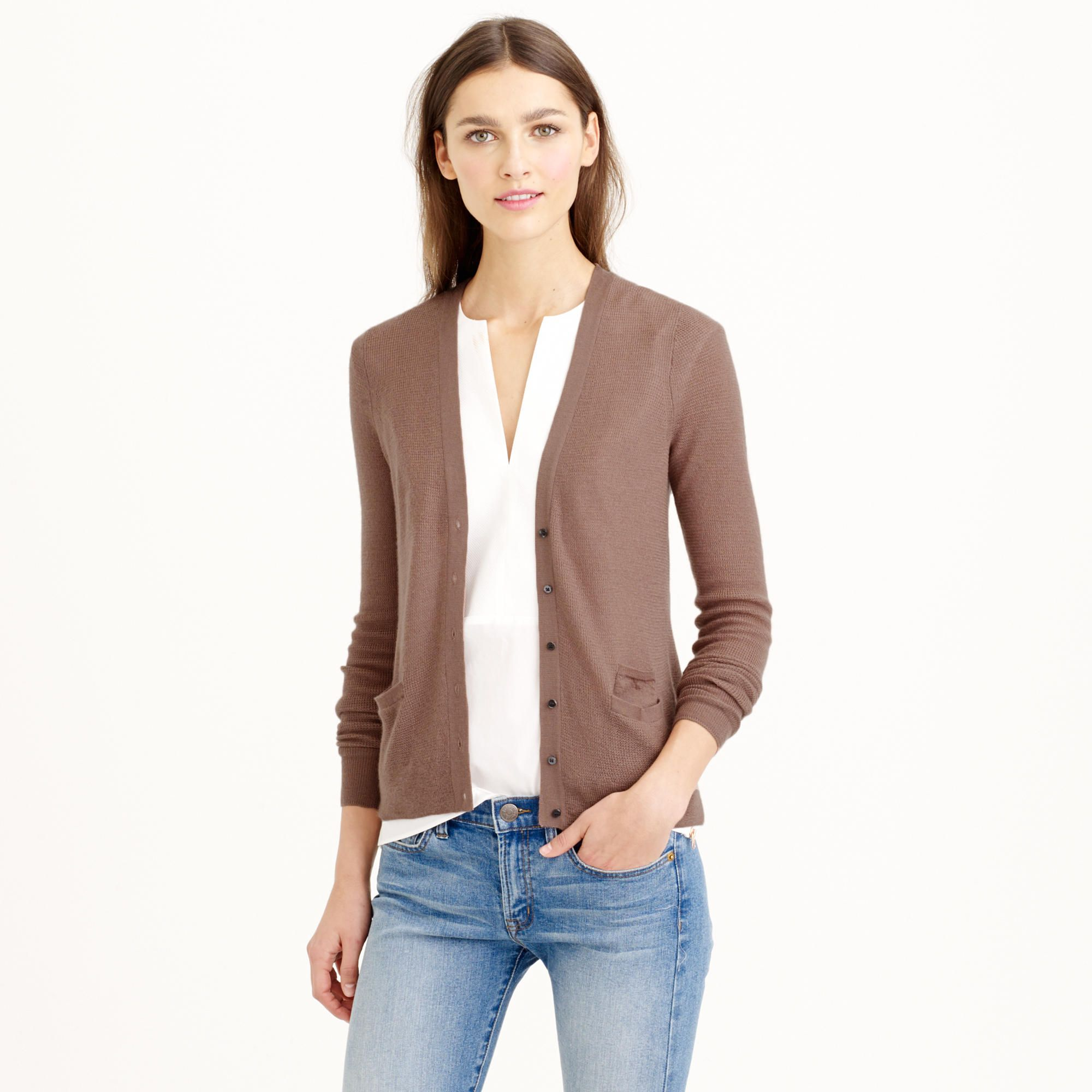 Collection featherweight cashmere waffle cardigan sweater ...